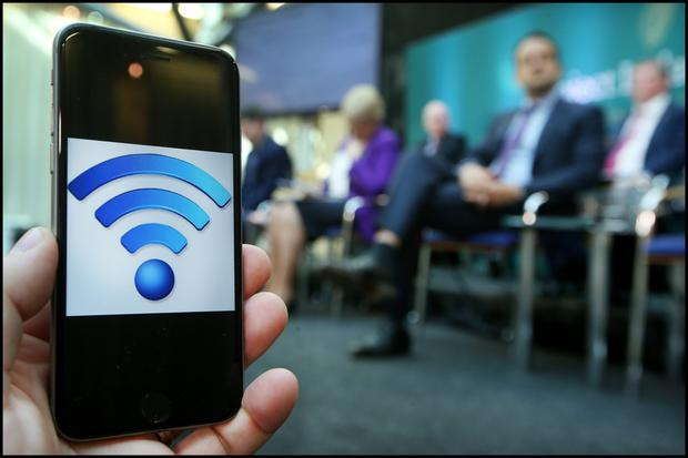 'Putting fibre into every home': Taoiseach Leo Varadkar listens to Communications Minister Richard Bruton at the launch of the National Broadband Plan