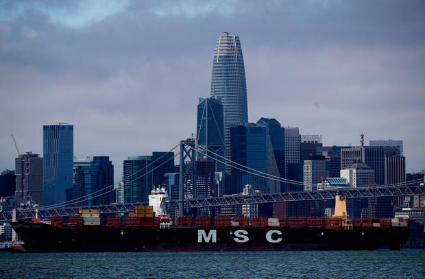 Tariffs: A container ship sits in San Francisco Bay in Oakland, California, as the US-China trade war heats up. Photo: Justin Sullivan/Getty Images