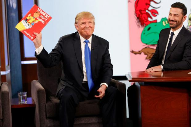 Joker: Then Republican presidential candidate Donald Trump with host Jimmy Kimmel on 'Jimmy Kimmel Live' back in December 2015. Photo: ABC via AP