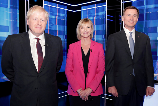 Line-up: Jeremy Hunt (right) and Boris Johnson with journalist Julie Etchingham. Photo: Matt Frost/ITV/Handout via REUTERS