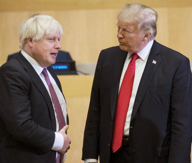 CARBON COPIES? Boris Johnson and Donald Trump at UN headquarters in New York in 2017