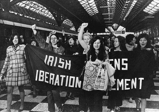 Protest: Women at Dublin's Connolly Station heading to Belfast in 1971 to buy contraceptives, which were illegal here until 1980. PHOTO: The Irish Times