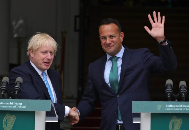 On the verge: British Prime Minister Boris Johnson with Taoiseach Leo Varadkar during a visit to Dublin. Photo: Collins