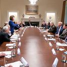 Taking charge: House speaker Nancy Pelosi addresses President Donald Trump in the cabinet room. Photo: AP