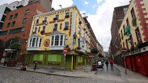 Quiet times: A general view of closed pubs in Temple Bar, Dublin. PHOTO: COLLINS