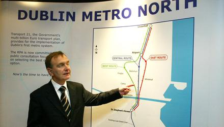 Former transport minister Martin Cullen back in 2006, at the launch of the public consultation on Metro North