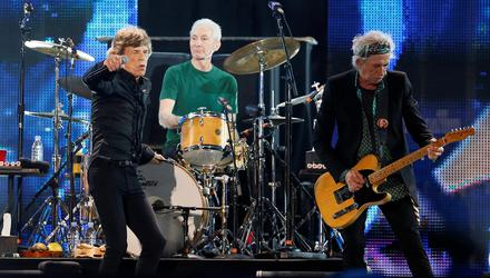 Mick Jagger, Charlie Watts and Keith Richards of The Rolling Stones perform during a concert in Abu Dhabi in February 2014. Picture by Reuters