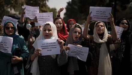 Afghan women march to demand their rights under the Taliban rule during a demonstration in Kabul, Afghanistan, on Sunday, September 19. Photo: AP