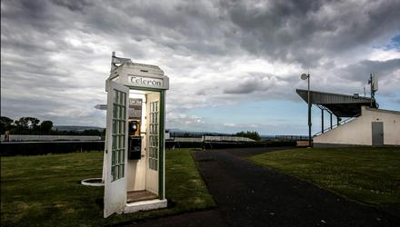 The p hone box in Bellewstown racecoursewhich stands as a memorial to Barney Curley. Picture by David Conachy