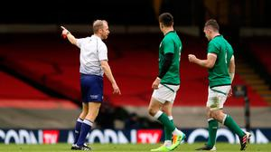 Turning point: Ireland's Peter O'Mahony (right) is sent off during Sunday's Six Nations defeat to Wales in Cardiff. Photo: David Davies/PA Wire
