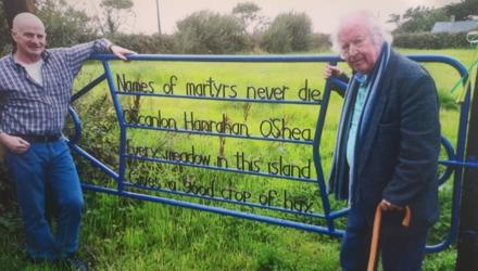 Stephen Enright and Brendan Kennelly at the talking gate