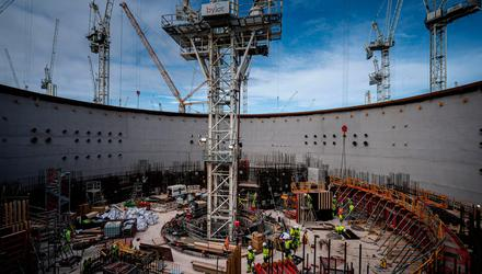Workers at Nuclear Island 1, at Hinkley Point C nuclear power plant near Bridgwater in Somerset, England, as work on the project reaches the five-year anniversary. Photo: Ben Birchall/PA Wire