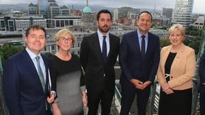 Fanfare: Taoiseach Leo Varadkar with senior cabinet ministers at the Land Development Agency launch back in 2018. Photo: Gareth Chaney/Collins