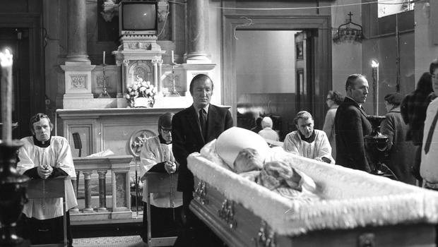 BEND THE KNEE: Charlie Haughey pays his respects to the former Archbishop of Dublin John Charles McQuaid in the Pro-Cathedral in March 1973
