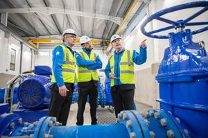 Go with the flow: Tony Keohane, chairman of Ervia, the semi-state multi-utility company, then housing minister Eoghan Murphy and Eamon Gallen, of Irish Water, at the launch in February of the Vartry-to-Callowhill link official opening, which replaced a 4km tunnel constructed in the 1860s. Photo: Naoise Culhane