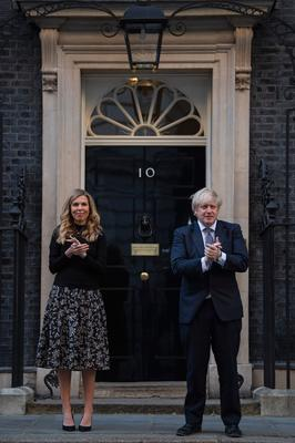 Carrie Symonds and Boris Johnson outside No 10 Downing St