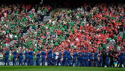 22 August 2021; Supporters watch the parade before the GAA Hurling All-Ireland Senior Championship Final match between Cork and Limerick in Croke Park, Dublin. Photo by Harry Murphy/Sportsfile