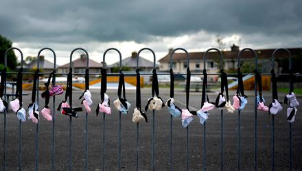 Babies' shoes are hung in Tuam, Co Galway, in tribute to babies who died at the mother and baby home there. Photo: Getty