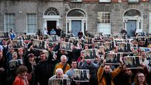 Stark reality: People take part in a protest on North Frederick Street in Dublin after an eviction in the city in 2018