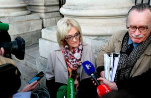 Solicitors Marion Campbell and George Gill speaking to the media outside the High Court yesterday. Photo: Courtpix