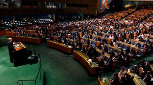 US President Joe Biden addresses the 76th Session of the UN General Assembly on September 21, 2021 at UN headquarters in New York City. Photo: Timothy A. Clary-Pool/Getty Images
