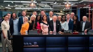 GB News presenters and personnel line up for a group photo last night ahead of the station's launch.. Photo: Gareth Milner/GB News/PA Wire