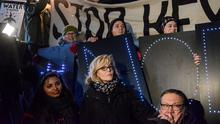 Jane Fonda participates in a protest against US President Donald Trump's executive order to allow the Keystone XL and Dakota Access oil pipelines. Photo: Reuters