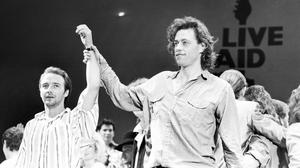 'Give us the money': Bob Geldof and Midge Ure at Live Aid in London, in 1985. Photo: Getty