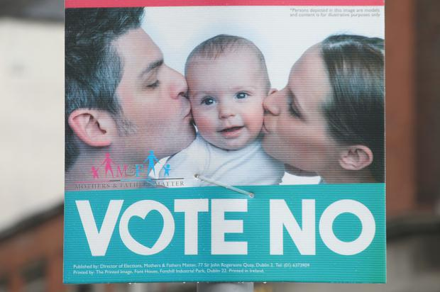 A Vote No campaign poster on Merrion Row in Dublin (Damien Eagers)