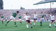 Ecstasy: Ray Houghton scores against England in Stuttgart in Euro 88. PHOTO: SVEN SIMON