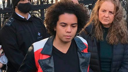 Keira Bell, who was prescribed puberty blockers when she was 16, pictured outside the Royal Courts of Justice in London after a landmark High Court ruling. PA Photo