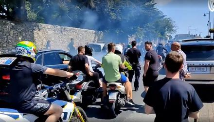 Video grab of motorcycles outside the funeral of N7 crash victim Dean Maguire