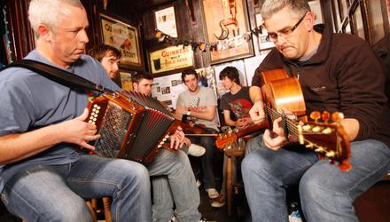 Before lockdown: Shane Mitchell from Dervish and Declan Courell at a traditional music session at Hargadon's Bar in Sligo. Photo: James Connolly / PicSell8