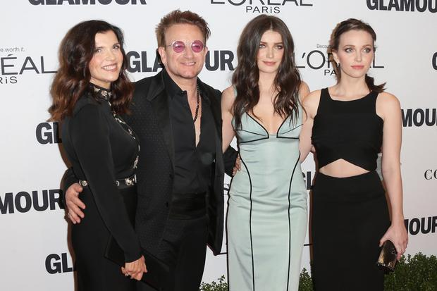Bono with his wife Ali and daughters Eve and Jordan in 2016