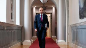 Taoiseach Micheál Martin before his live video call with survivors of the mother and baby homes on Tuesday. Photo: Julien Behal Photography/PA