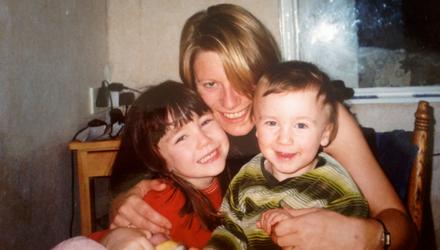 'Lucky': Carol Hunt with her daughter Sophie and son Oscar when they were young
