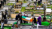 FINAL JOURNEY: The funeral and burial of Patsy Sweeney at the Church of the Holy Family Cemetery in Ardara, Co Donegal, last Thursday. Photo: Richard Wayman