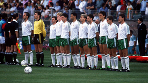 The Republic of Ireland squad before the Egypt game in Italy 1990. Photo: Ray McManus/Sportsfile