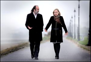 A walk in the park: Lucinda Creighton, TD for Dublin South East, with John Waters. Photo: David Conachy.