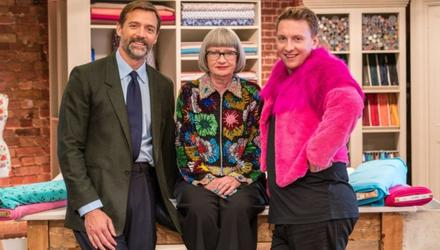 The Great British Sewing Bee, judges Patrick Grant and Esme Young and presenter Joe Lycett pictured, inspired Bill's wife to take up a needle and thread
