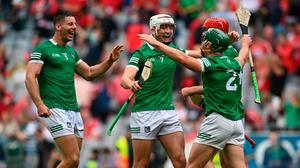 Kyle Hayes of Limerick (centre) celebrates with teammates after the All-Ireland hurling final between Limerick and Cork, which was watched by 40,000 fans at Croke Park. Photo: Harry Murphy/Sportsfile