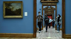 People in the National Gallery of Ireland, Dublin, as a phased reopening following Government guidance began on Monday, May 10. Photo: Clodagh Kilcoyne