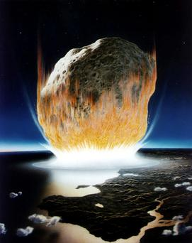 An artist's conception shows an asteroid crashing into Earth