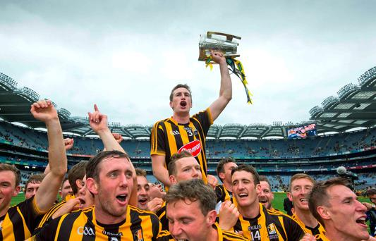 Kilkenny players lift captain Joey Holden and the Liam McCarthy Cup in celebration