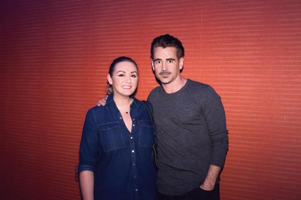 Vicki Notaro with guest Colin Farrell.