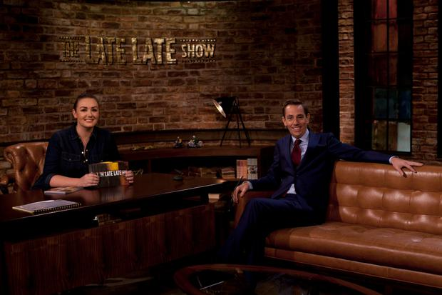 Vicki Notaro on the set of the Late Late show with Ryan Tubridy.