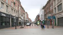 Talbot Street in Dublin's city centre during the lockdown. Photo: Gareth Chaney/Collins