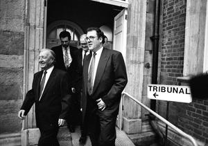 Former Taoiseach Charles Haughey at the Beef Tribunal with Conor Maguire. Photo: Tom Burke
