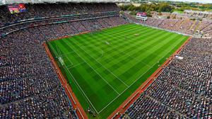 A general view of Croke Park during the national anthem on All-Ireland final day
