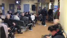 The crowded waiting room in Dublin's Beaumont Hospital in January.